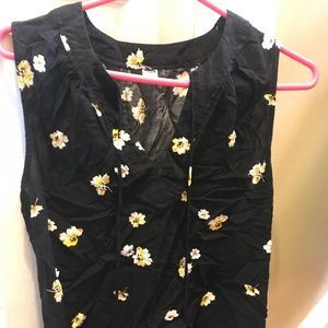Old Navy Black with yellow Flowers Blouse